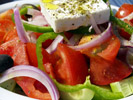 Greek Salad: Tomatoes, Cucumbers, Onions,  Green Peppers, Feta Cheese